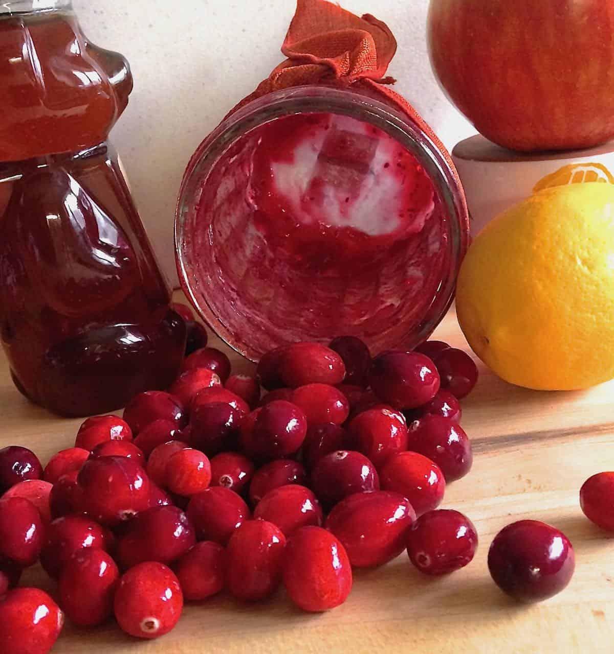 an empty jar of Festive Cranberry-Apple Relish cranberries, lemon and honey