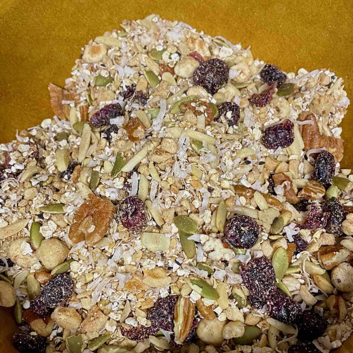 best hot honey granola nuts, seeds and dried fruit