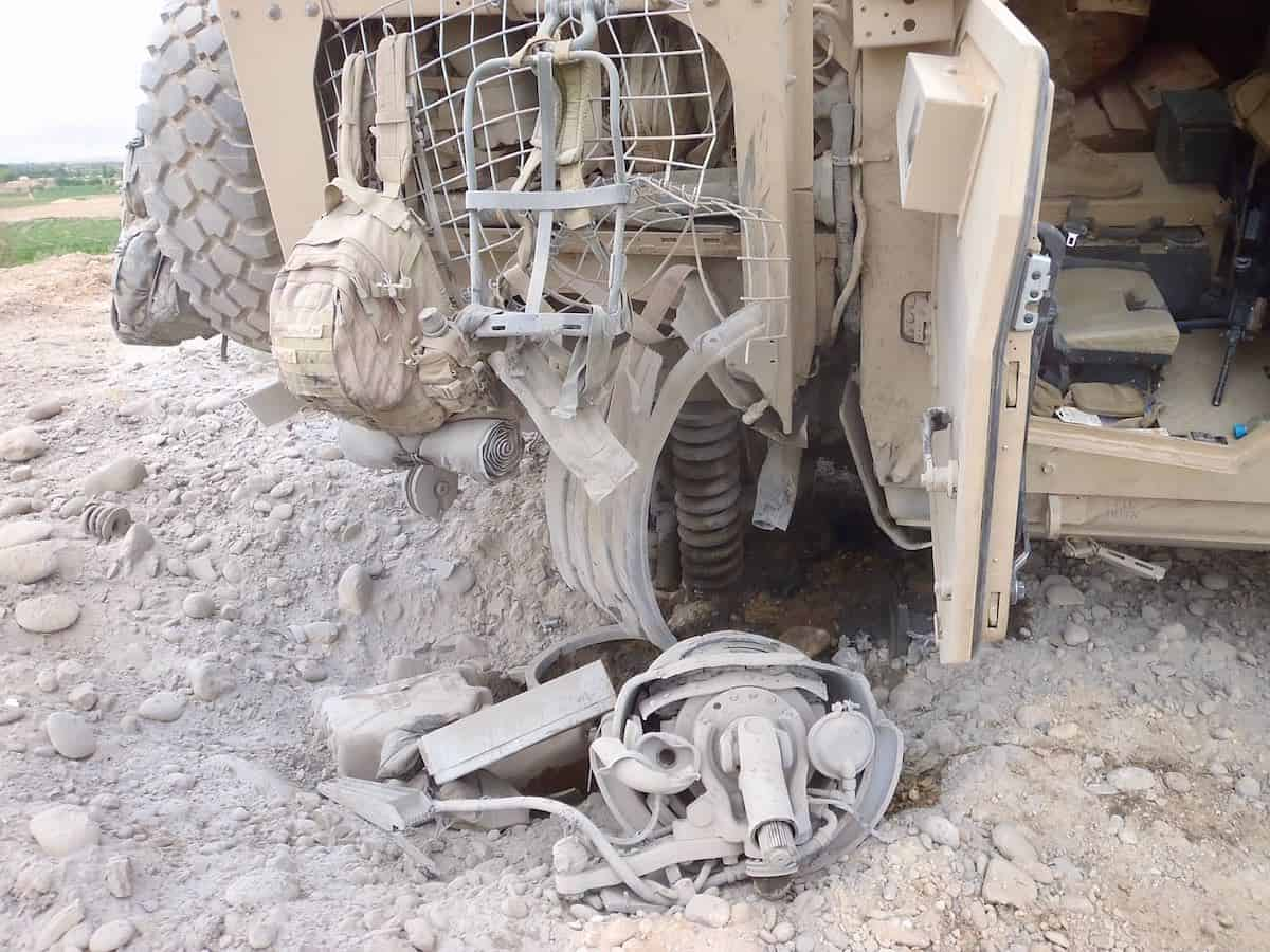 the seat William was sitting in when this vehicle triggered an IED (improvised explosive device)