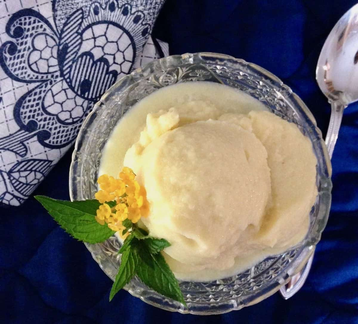 no borage-use mint and another pretty flower for garnish on Fresh Pineapple Cucumber sorbet