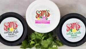 3 containers Sam's salsa