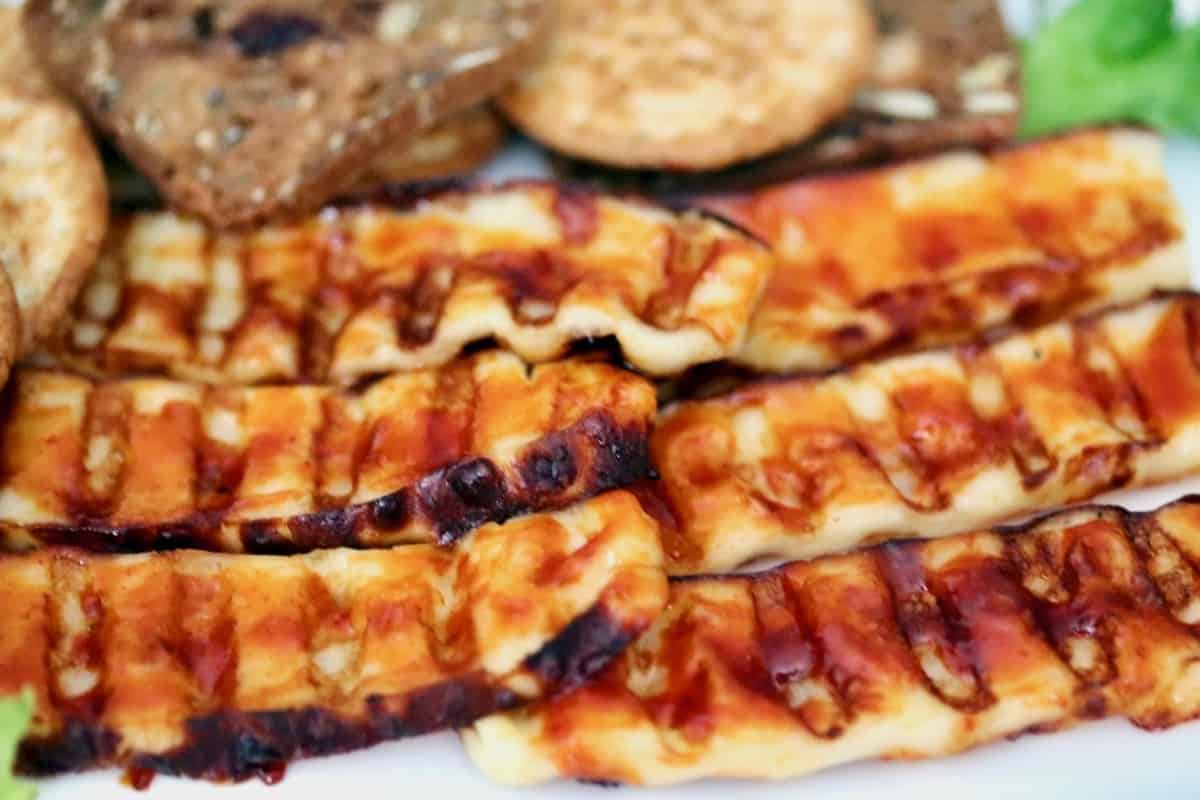 Healthier Holiday Cheese Board grilled and glazed cheese