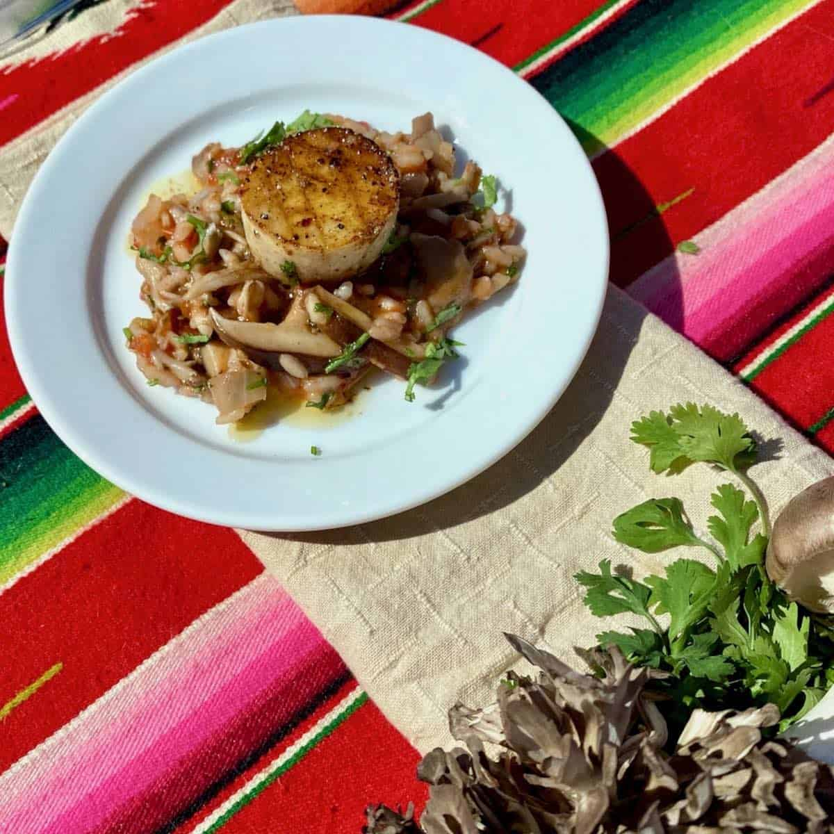 appetizer of cantina style mushroom risotto